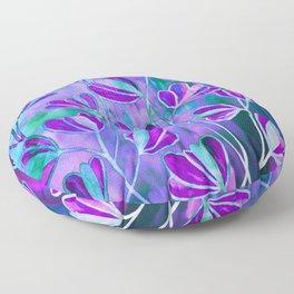 EFFLORESCENCE Lavender Purple Blue Colorful Floral Watercolor Painting Summer Garden Flowers Pattern Floor Pillow