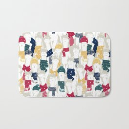Happy llamas Christmas choir Bath Mat