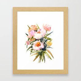 Soft Pink Peonies Asian watercolor Peonies, soft pink, olive green Framed Art Print