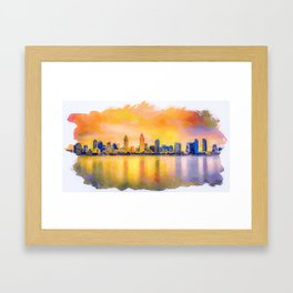 sunset skyline of San Diego downtown, California Framed Art Print