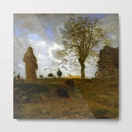 "Jean-François Millet ""Autumn Landscape with a Flock of Turkeys"" Metal Print"