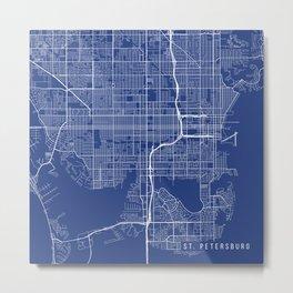 St Petersburg Map, USA - Blue Metal Print