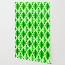 Mid-Century Modern Diamonds, Emerald & Lime Green Wallpaper