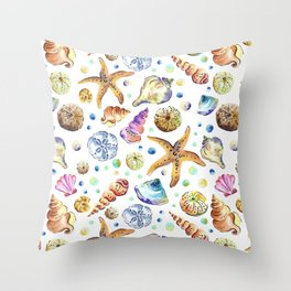 Starfish shell carnival Throw Pillow