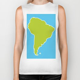 South America map blue ocean and green continent. Vector illustration Biker Tank
