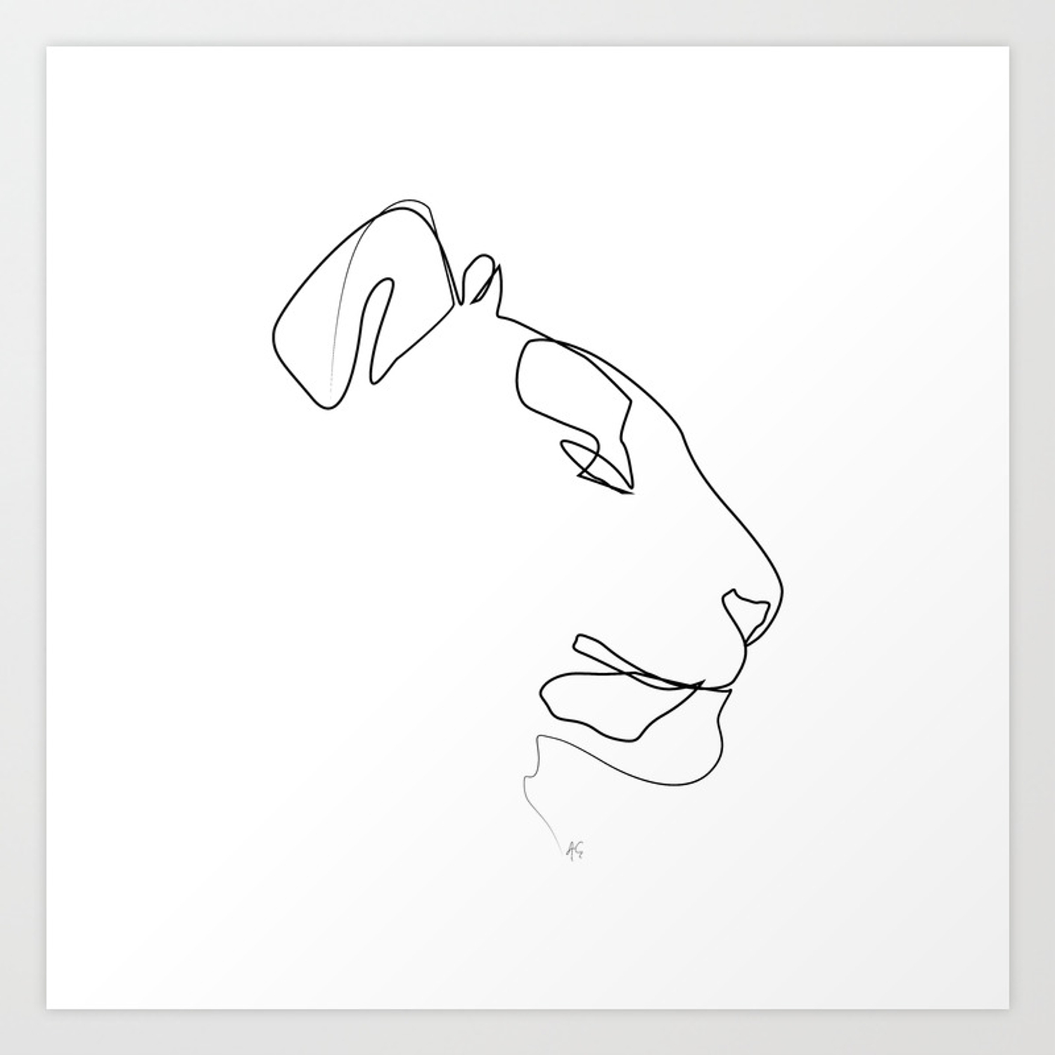 Animals collection tiger one line art art print by aelissedesign society6