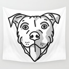 Pitbull Dog Print - black and white halftone Wall Tapestry