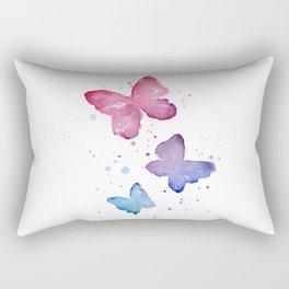Butterflies Watercolor Abstract Splatters Rectangular Pillow