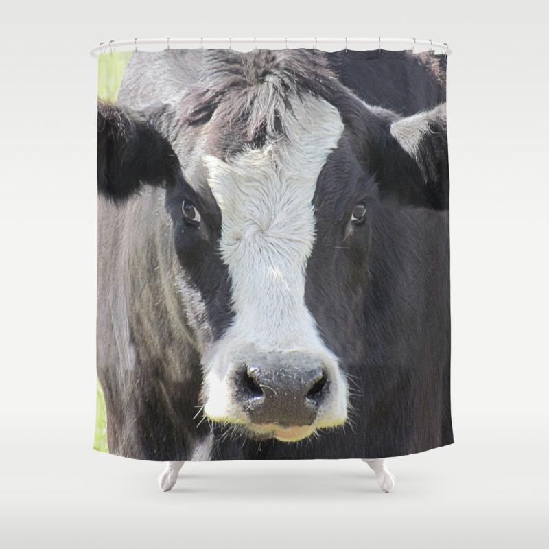 Black White Cow Farm Animal Farmhouse Art Country Decor A565 Shower Curtain