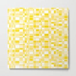 Mod Gingham - Yellow Metal Print