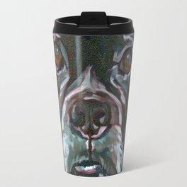 Sable the Black Boxer Dog Travel Mug