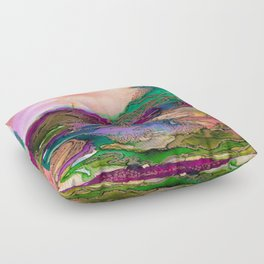 BRING ON BOHEMIA 1 Bold Rainbow Colorful Watercolor Abstract Metallic Accent Summer Peach Pink Green Floor Pillow