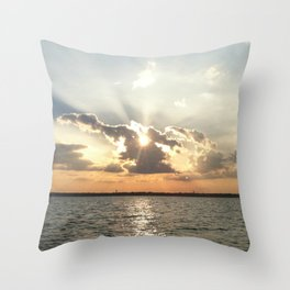 Sunset over Lewisville lake Throw Pillow