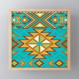 Native Aztec Tribal Turquoise Rug Pattern Framed Mini Art Print