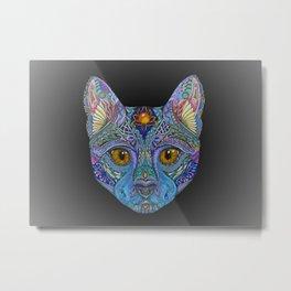 Mystic Psychedelic Cat Metal Print