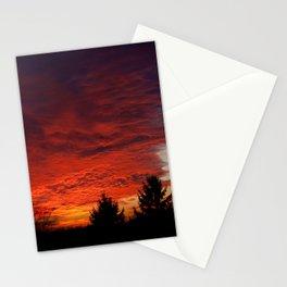Red sunset and trees silhouette in Warsaw Stationery Cards