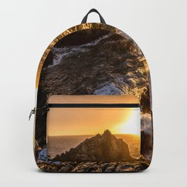 In Waves - Waves Crashing Into Rocks at Sunset In Big Sur Backpack