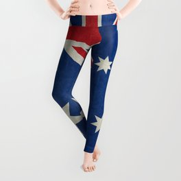 "Australian flag, retro ""folded"" textured version (authentic scale 1:2) Leggings"