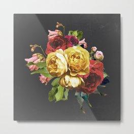 Vintage rose arrangement on black Metal Print