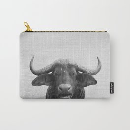 African Buffalo - Black & White Carry-All Pouch