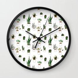 Green plants in white pots Wall Clock