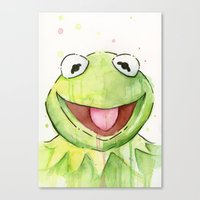 kermit Canvas Prints featuring Kermit Portrait by Olechka