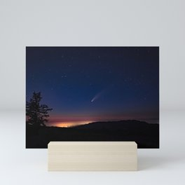 Neowise Comet over Kneeland at sunset Mini Art Print