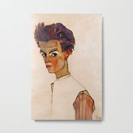 Egon Schiele - Self-Portrait with Striped Shirt Metal Print