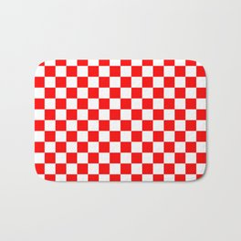 Jumbo Australian Racing Flag Red and White Checked Checkerboard Pattern Bath Mat