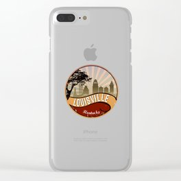 Louisville City Skyline Design Kentucky Retro Vintage Clear iPhone Case