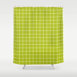 Acid Green - Green Color - White Lines Grid Pattern Shower Curtain