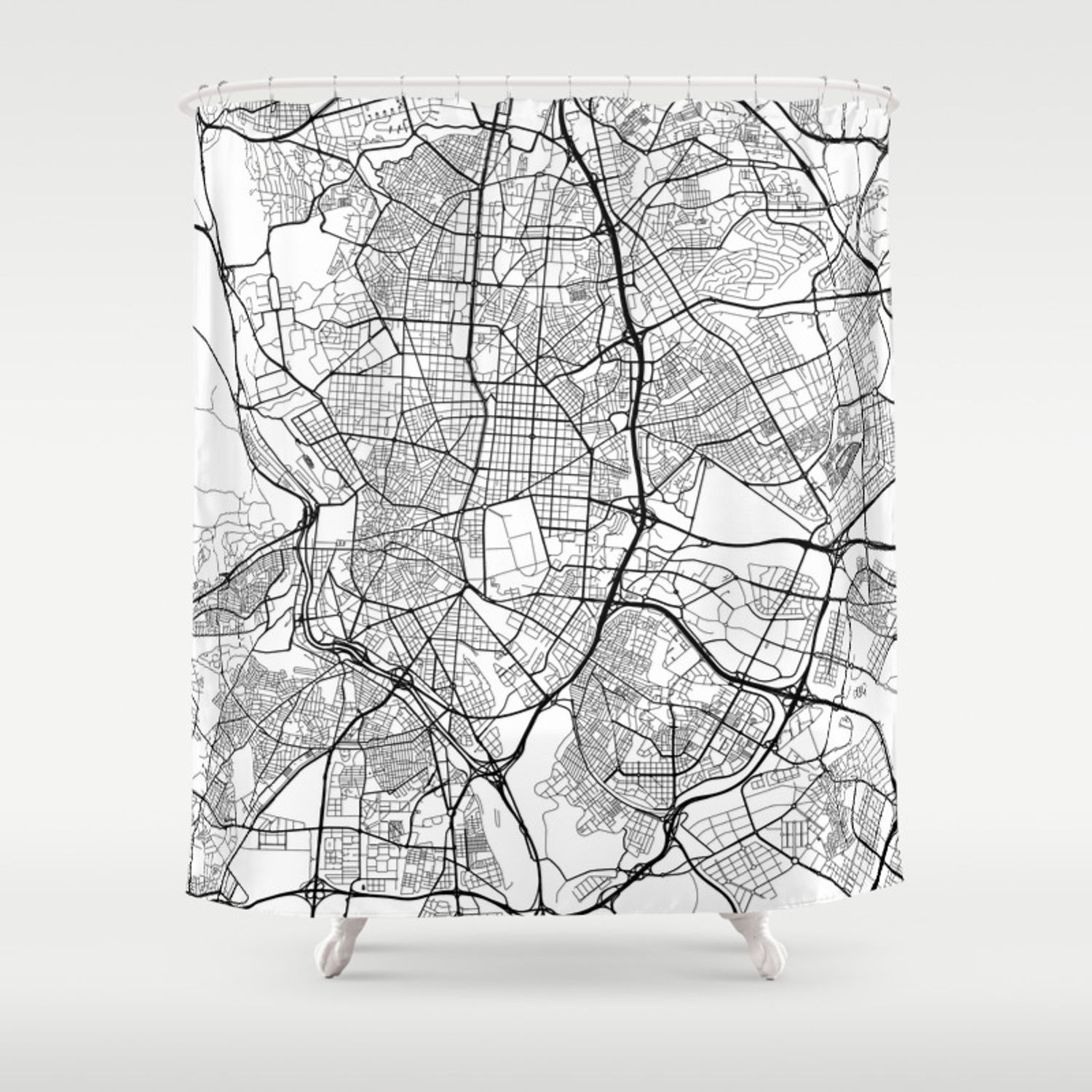 Black And White Madrid madrid map, spain - black and white shower curtain by mainstreetmaps
