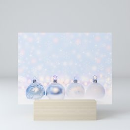 Festive Silver Christmas Balls on Snow Mini Art Print