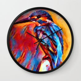 Kingfisher Watercolor Wall Clock