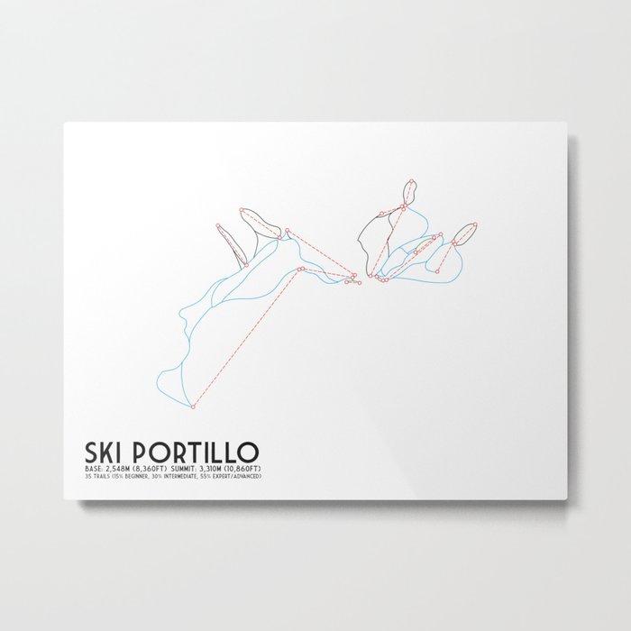 Ski Portillo - Los Andes, Chile - Minimalist Winter Trail Art Metal Print