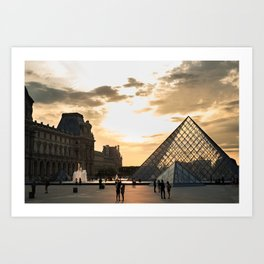 Louvre Pyramid sunset Art Print