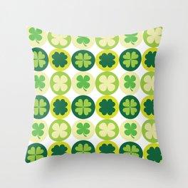 Lucky Irish Four Leaf Clovers Polka Dot Pattern Throw Pillow