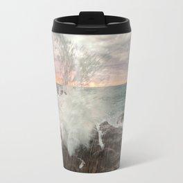 Crashing waves at sunset Travel Mug