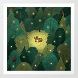 Enchanted Forest Baby Fawn Art Print