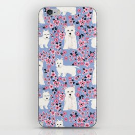 Westie cherry blossoms west highland terrier cutest fluffy white dog breed pattern art iPhone Skin