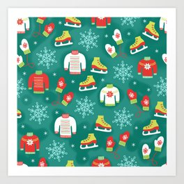 Christmas Sweaters, Ice Skates and Mittens Pattern Art Print
