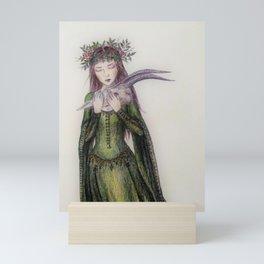 Girl with a skull Mini Art Print