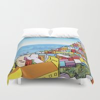 paper towns Duvet Covers featuring Towns of Italy II by Louise Griffiths