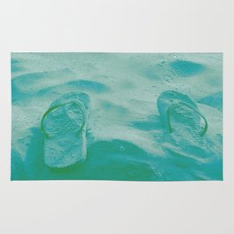 Thongs in the sand photo Rug