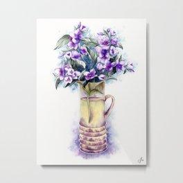 Violet jasmine bouquet in a flower vase Metal Print