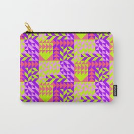 Geometrical abstract pink lilac neon yellow triangles pattern Carry-All Pouch