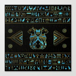 Egyptian Cats Gold and blue stained glass Canvas Print