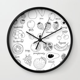 Hand  drawn collection of various fruits Wall Clock