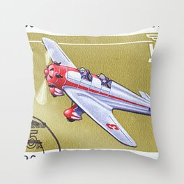 Postage stamp printed in Soviet Union shows vintage airplane Throw Pillow