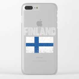 Finland National flag Distressed Finnish Country Gift Clear iPhone Case